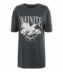 Dark Grey Acid Wash Eagle Infinite Slogan T-Shirt New Look
