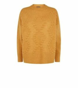 Mustard Bobble Argyle Knit Jumper New Look