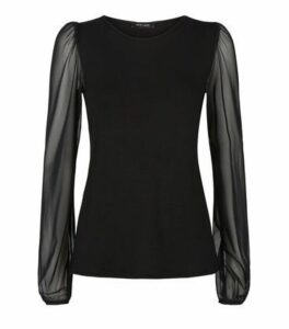 Black Mesh Sleeve Top New Look