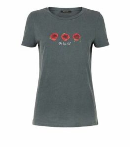 Dark Grey Rose No Love Lost Slogan T-Shirt New Look