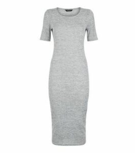 Grey Fine Knit T-Shirt Midi Dress New Look