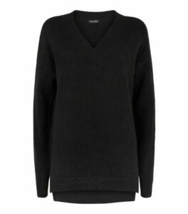 Black Knit V Neck Longline Jumper New Look