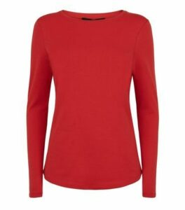 Dark Red Organic Cotton Long Sleeve T-Shirt New Look