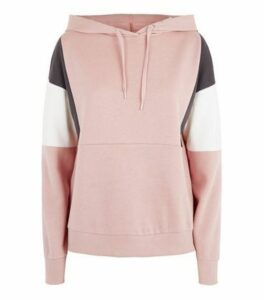 Pale Pink Colour Block Hoodie New Look