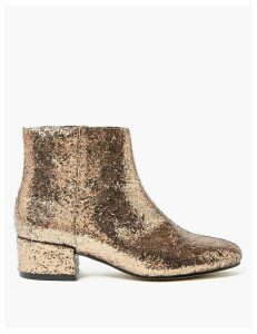 M&S Collection Glitter Low Block Heel Ankle Boots