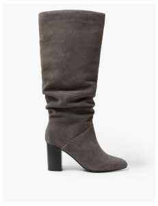 M&S Collection Slouch Block Heel Almond Toe Knee Boots