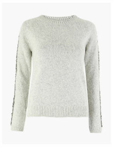 M&S Collection Sequinned Embellished Round Neck Jumper