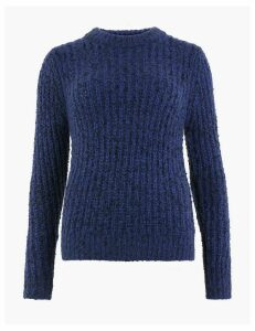 M&S Collection Textured Round Neck Long Sleeve Jumper