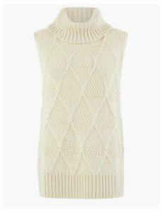 Per Una Sleeveless Cable Roll Neck Jumper