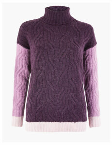 M&S Collection Cable Knit Colour Block Roll Neck Jumper