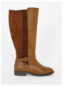 Wide Fit Brown Cross Strap Rider Boots, Brown