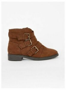 Extra Wide Fit Brown Three Strap Ankle Boots, Brown