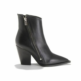 Leather High-Heeled Ankle Boots