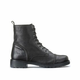 Leather Boots with Nail Detail