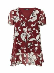 Wine Red Floral Split Front Top, Wine