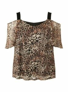 Brown Animal Print Cold Shoulder Blouse, Tan/Rust