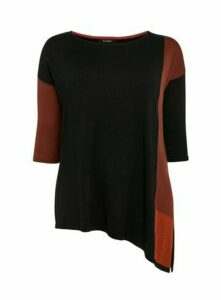 Black Colour Block Asymmetric Jumper, Black