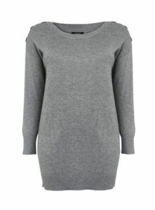 Grey Button Detail Tunic Jumper, Grey