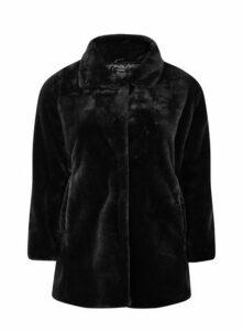 Black Faux Fur Coat, Black
