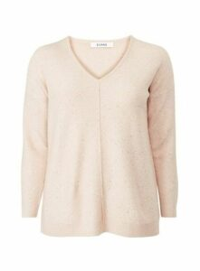 Pink Sequin V-Neck Jumper, Pink
