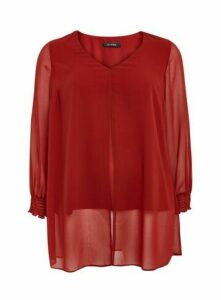 Rust Long Sleeve Split Front Top, Red