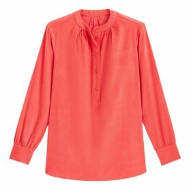 Grandad-Collar Blouse with 3/4 Length Sleeves