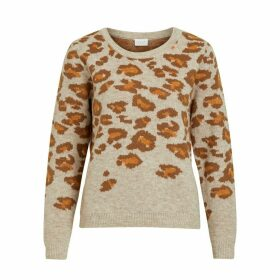 Leopard Print Long-Sleeved Round Neck Jumper
