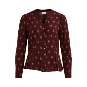 Grandad Collar Printed Blouse with Long Sleeves
