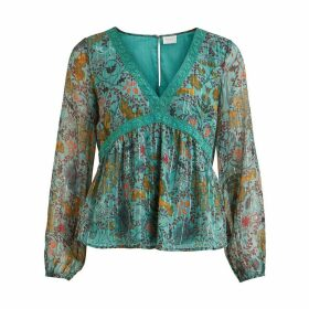 V-Neck Dip-Hem Blouse in Metallic Floral Print