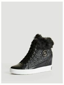 Guess Furr Wedge Sneaker With Fur