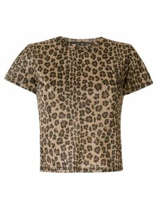 Fendi Pre-Owned leopard print mesh T-shirt - Brown