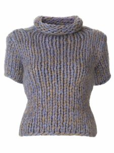 Chanel Pre-Owned turtleneck short-sleeved knitted blouse - PURPLE