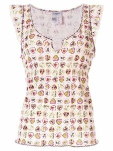 Chanel Pre-Owned heart print tank top - PINK
