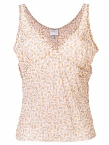 Chanel Pre-Owned floral print tank top - NEUTRALS