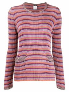 Chanel Pre-Owned 2009s striped T-shirt - PURPLE
