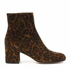 Gianvito Rossi Leopard Suede Printed Ankle Boots