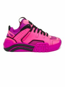 GCDS Fuchsia Leather And Mesh Sneakers