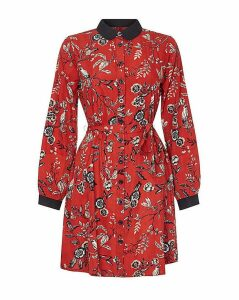 Yumi Curves Flower And Bird Print Shirt