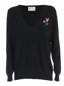 Be Blumarine Sweater V Neck One Embroidered Flower