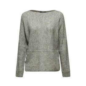 Fine Knit Jumper with Crew Neck and Buttons