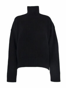 Laneus Black Wool Turtle Neck Sweater