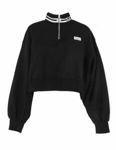 GCDS Black Cotton Cropped Sweatshirt