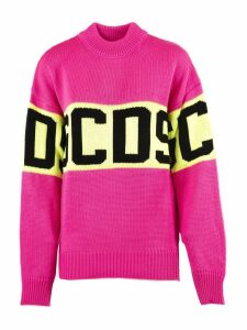 GCDS Pink Wool Knitted Logo Sweater