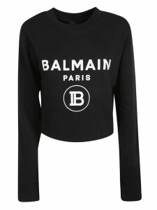 Balmain Cropped Length Logo Print Sweatshirt