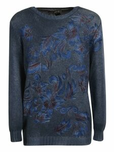 Avant Toi Off-gauge Floral Print Sweater