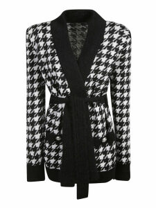 Balmain Checked Belted Cardigan