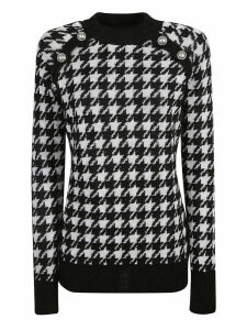 Balmain Checked Knit Crew Neck Sweater