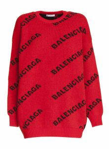 Balenciaga Wool Blend Pullover With Jacquard Logo