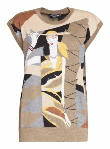Dolce & Gabbana Sleeveless Sweater In Lurex Viscose With Intarsia