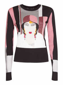 Dolce & Gabbana Crew Neck Cashmere Lurex Sweater With Lace Inlay